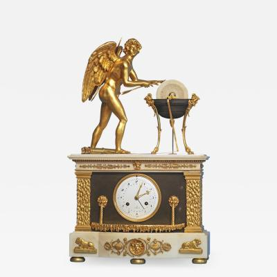 c 1800 Animated French Ormolu Patinated and White Marble Mantle Clock