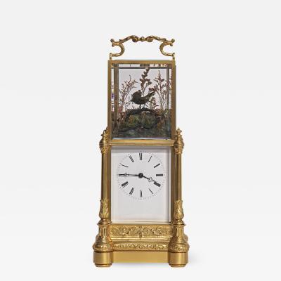 c 1870 Rare Automated Singing Bird Carriage Clock