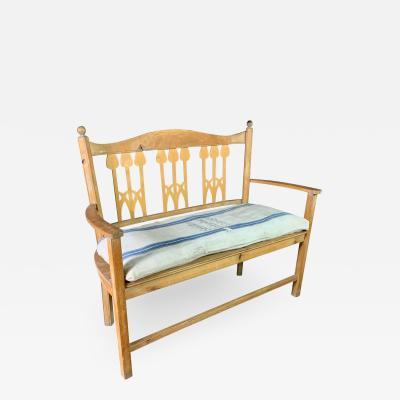 c1900 Swedish Art Nouveau Rural Pine Bench Vintage Grainsack Seat