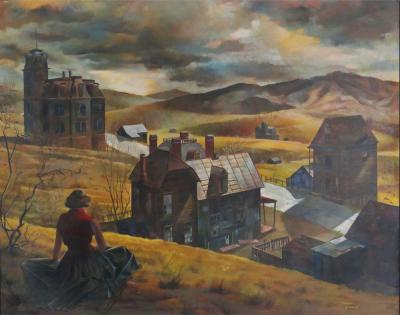 chet Engle Virginia City by Chet Engles Oil on Board
