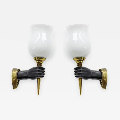 devoluy john John Devoluy pair gold and blackened bronze pair of hand shaped sconces