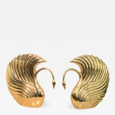 dolbi cashier Pair of Grand Scale Art Deco Revival Brass Swans by Dolbi Cashier