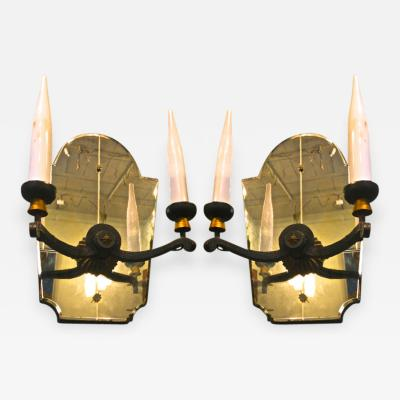 french neo classic pair of wrought iron and mirror sconces