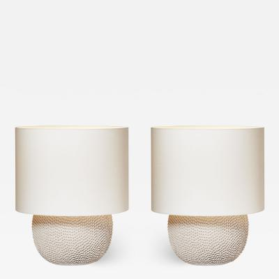 gilles caffier Pair of Round Modern Ceramic Table Lamps