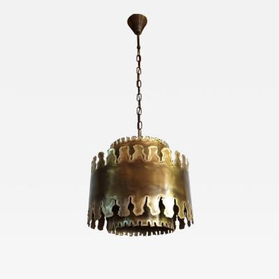 holm sorensen Mid Century Modern oxidized brass brutalist chandelier by Sorensen Denmark 1960s
