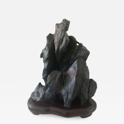 large Chinese Scholar Lingbi Stone on Wood Stand