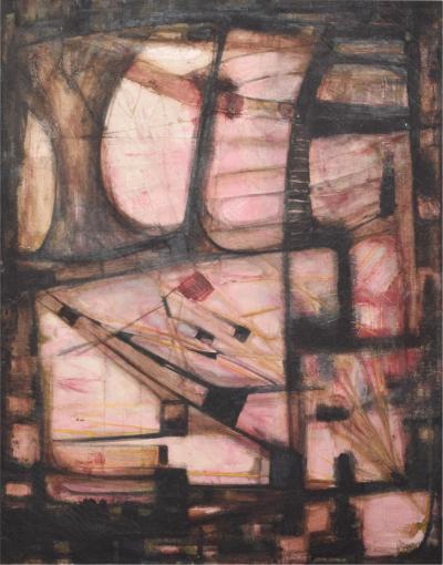miguel acosta alvarez Pink Abstract Oil Painting by Miguel Alvarez Acosta Ambassador Modernism 1950s