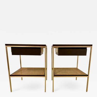 reGeneration Furniture re 392 Walnut and Brass Bedside Tables