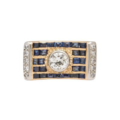 retro diamond saphire ring