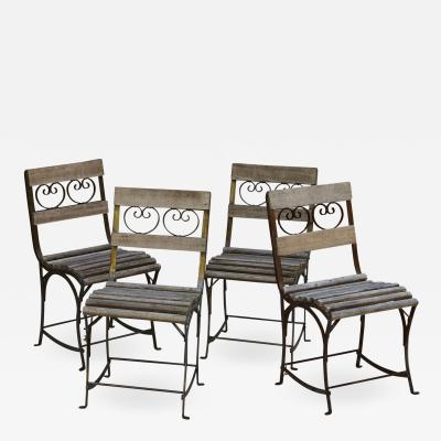 set of Four French Wrought Iron Garden or Bistro Chairs With Wooden Slats