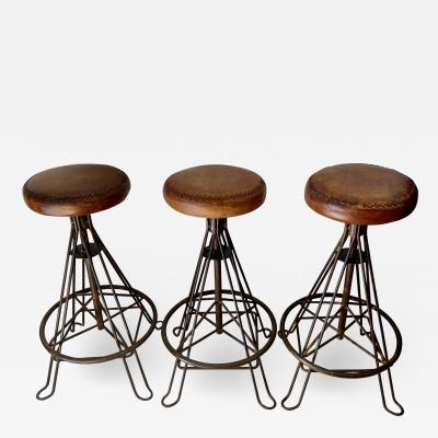 set of Three Wrought Iron and Leather Bar Stools