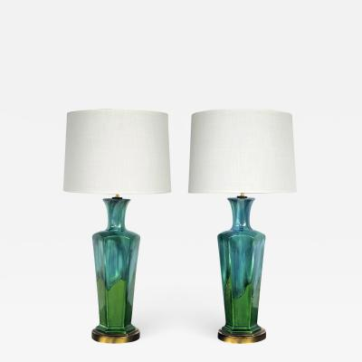 stylish pair of mid century modern blue and green drip glaze hexagonal lamps