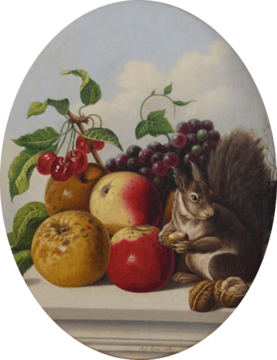 John J Eyers Still Life with Squirrel 1863