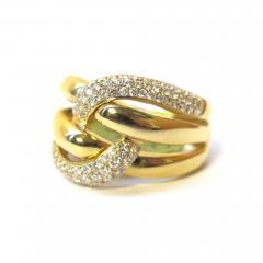 63 Carat Pave Diamond Knot Ring 18k Yellow Gold - 1418581