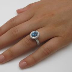 99 Carat Aquamarine and 1 27 Carats Diamond 18k White Gold Halo Ring - 1416568