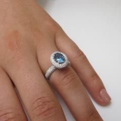 99 Carat Aquamarine and 1 27 Carats Diamond 18k White Gold Halo Ring - 1416569