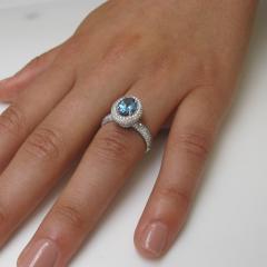 99 Carat Aquamarine and 1 27 Carats Diamond 18k White Gold Halo Ring - 1416571