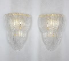 A V Mazzega Clear Murano glass gold plate Mid Century Vintage sconces Mazzega Italy 1970 - 1954444