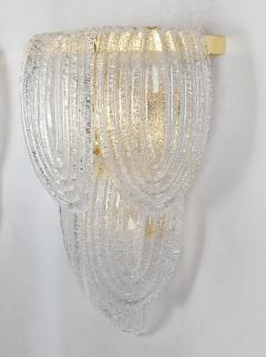 A V Mazzega Clear Murano glass gold plate Mid Century Vintage sconces Mazzega Italy 1970 - 1954446