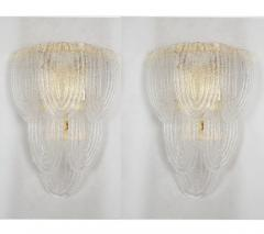 A V Mazzega Clear Murano glass gold plate Mid Century Vintage sconces Mazzega Italy 1970 - 1954447