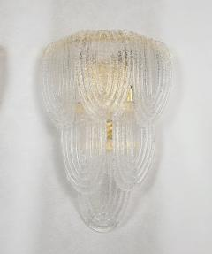 A V Mazzega Clear Murano glass gold plate Mid Century Vintage sconces Mazzega Italy 1970 - 1954448