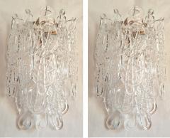 A V Mazzega Clear Spaghetti Murano Glass Sconces Mid Century Modern by Mazzega 1970s - 1415759