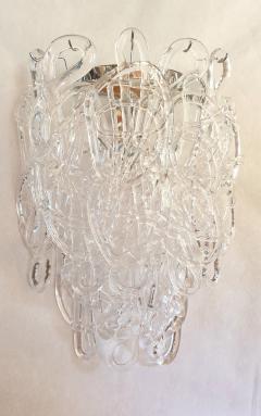 A V Mazzega Clear Spaghetti Murano Glass Sconces Mid Century Modern by Mazzega 1970s - 1415767