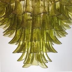 A V Mazzega Large Mid Century Modern 7 tier Green Murano glass chandelier by Mazzega Italy - 1959463