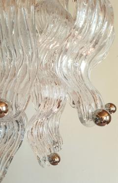 A V Mazzega Long Mid Century Modern Murano glass chrome chandelier Mazzega style 2 avail - 1936701