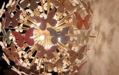 A V Mazzega Mid Century Modern Murano butterfly sputnik chandelier colored through light - 1813618