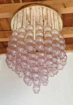 A V Mazzega Mid Century Modern purple Murano glass flush mount chandelier by Mazzega 1970s - 1648734