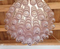 A V Mazzega Mid Century Modern purple Murano glass flush mount chandelier by Mazzega 1970s - 1648736