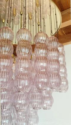 A V Mazzega Mid Century Modern purple Murano glass flush mount chandelier by Mazzega 1970s - 1648738