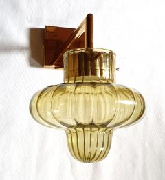A V Mazzega Pair of Green Murano glass gold plated Mid Century Modern sconces Mazzega style - 1449366