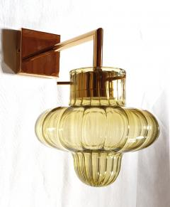 A V Mazzega Pair of Green Murano glass gold plated Mid Century Modern sconces Mazzega style - 1449367