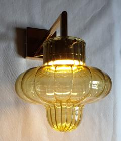 A V Mazzega Pair of Green Murano glass gold plated Mid Century Modern sconces Mazzega style - 1449368