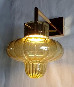 A V Mazzega Pair of Green Murano glass gold plated Mid Century Modern sconces Mazzega style - 1449369
