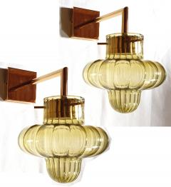 A V Mazzega Pair of Green Murano glass gold plated Mid Century Modern sconces Mazzega style - 1449386