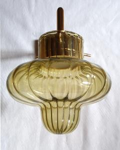 A V Mazzega Pair of Green Murano glass gold plated Mid Century Modern sconces Mazzega style - 1449387