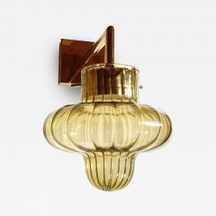 A V Mazzega Pair of Green Murano glass gold plated Mid Century Modern sconces Mazzega style - 1449786