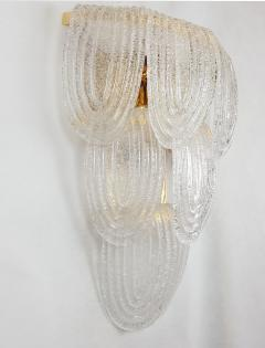 A V Mazzega Pair of Large Mid Century Modern Murano clear glass sconces by Mazzega Italy - 1954311