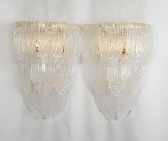 A V Mazzega Pair of Large Mid Century Modern Murano clear glass sconces by Mazzega Italy - 1954312