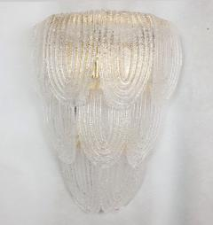 A V Mazzega Pair of Large Mid Century Modern Murano clear glass sconces by Mazzega Italy - 1954313
