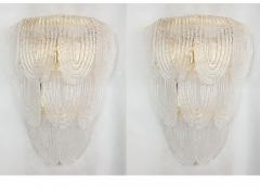 A V Mazzega Pair of Large Mid Century Modern Murano clear glass sconces by Mazzega Italy - 1954314