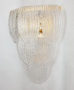 A V Mazzega Pair of Large Mid Century Modern Murano clear glass sconces by Mazzega Italy - 1954315