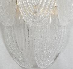 A V Mazzega Pair of Large Mid Century Modern Murano clear glass sconces by Mazzega Italy - 1954316