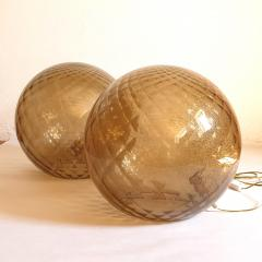 A V Mazzega Pair of large Murano glass globe table lamps Mid Century Modern Mazzega style - 1355362