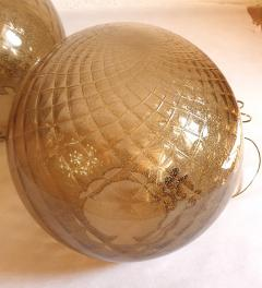 A V Mazzega Pair of large Murano glass globe table lamps Mid Century Modern Mazzega style - 1355363