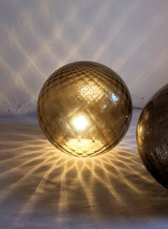 A V Mazzega Pair of large Murano glass globe table lamps Mid Century Modern Mazzega style - 1355369