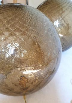 A V Mazzega Pair of large Murano glass globe table lamps Mid Century Modern Mazzega style - 1355370